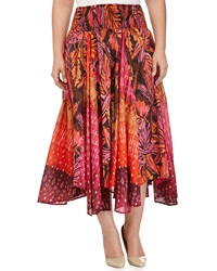 Neiman Marcus Floral Print Smocked Skirt Pink Paradise Coral