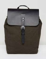 Sandqvist Alva Canvas And Leather Backpack In Grey