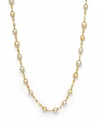 Bloomingdale's 18K Yellow Gold And Cultured White And Golden South Sea Pearl Necklace With Yellow Sapphires 42 White Gold