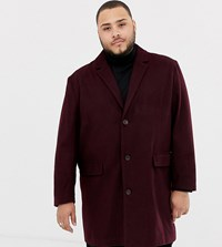Jacamo Wool Blend Overcoat In Burgundy Red
