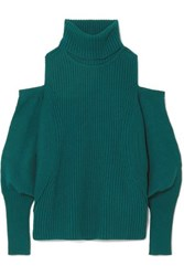 Antonio Berardi Cold Shoulder Ribbed Wool And Cashmere Blend Turtleneck Sweater Petrol