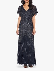 Adrianna Papell Flutter Sleeve Beaded Gown Midnight