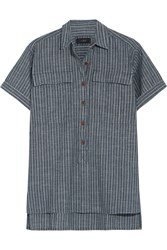 J.Crew Striped Cotton Chambray Shirt Blue