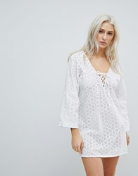 Liquorish Crochet Effect Beach Dress White