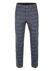Gibson Men's Blue And Tan Check Trouser Blue