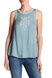 Jessica Simpson Paxti Sleeveless Embroidered Shirt Blue