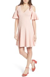 Soprano Women's Cold Shoulder Dress Light Pink