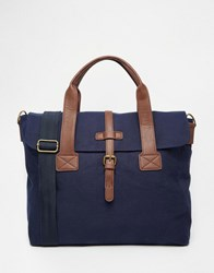 Asos Satchel In Navy Canvas With Contrast Trims Navy Blue