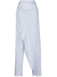 Baja East Asymmetric Wrapped Trousers Blue