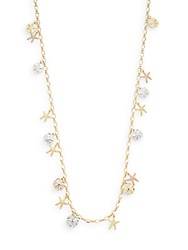 Saks Fifth Avenue Mixed Metal Starfish Charm Station Necklace Gold Multi
