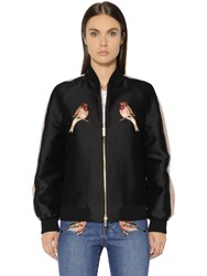 Stella Mccartney Embroidered Cotton Silk Duchesse Bomber