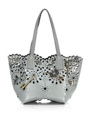 Marc Jacobs Embellished Laser Cut Leather Tote Black Frost