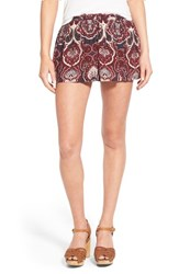 Junior Women's Sun And Shadow 'Boho' Print Shorts