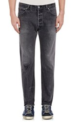 Re Done Men's Leather Inset Skinny Straight Jeans Black