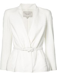 Carolina Herrera Textured Canvas Jacket Women Silk Cotton Polyamide Viscose 6 White