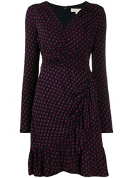Michael Michael Kors Polka Dot Ruffled Dress Black