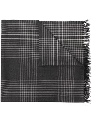 Begg And Co Check Cashmere Scarf Grey