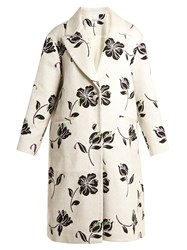 Huishan Zhang Alison Floral Jacquard Single Breasted Coat Cream Multi