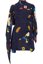 J.W.Anderson Butterfly Cape Effect Printed Jersey Mini Dress Blue
