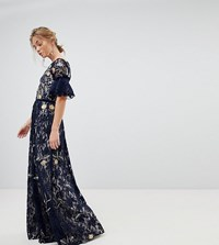 Frock And Frill Allover Floral Embroidered Lace Maxi Dress With Flutter Sleeve Navy Multi