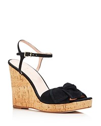 265d5f298e28 Kate Spade New York Women s Janae Suede Knotted Platform Wedge Sandals Black