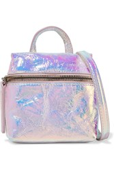 Kara Satchel Micro Holographic Crinkled Leather Shoulder Bag Silver