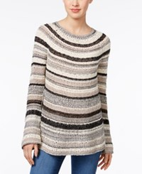Style And Co Boat Neck Striped Sweater Only At Macy's Deep Black Combo