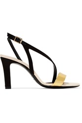 Lanvin Metallic Leather And Satin Sandals Black
