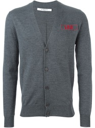 Givenchy Love Embroidered Cardigan Grey