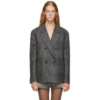 Saint Laurent Grey Oversized Glen Plaid Jacket