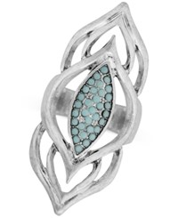 Lucky Brand Silver Tone Blue Stone Cluster Statement Ring