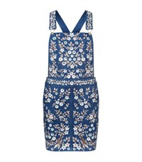 Needle And Thread Embroidered Denim Pinafore Dress Female Blue