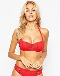 Asos Fuller Bust Exclusive Zig Zag Stitch Zip Front Bikini Top Dd G Red