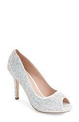 Women's Lauren Lorraine 'Paula' Peep Toe Pump White Sparkle