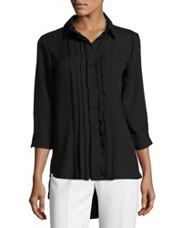 Joan Vass Pleated Front High Low Shirt Black