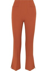 Roland Mouret Goswell Crepe Flared Pants Dark Brown
