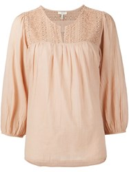 Joie Embroidered Blouse Nude And Neutrals