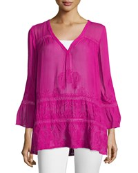 Calypso St. Barth Arien Lace Inset Gauze Tunic Orchid
