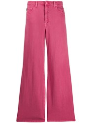 Love Moschino Flared Logo Patch Jeans Pink