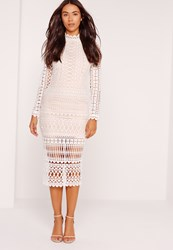 Missguided High Neck Structured Lace Midi Dress White White