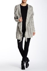 Lavand Fringe Open Front Cardigan Gray