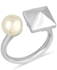 Majorica Silver Tone Imitation Pearl And Pyramid Cuff Ring