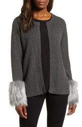 Chaus Faux Fur Detail Cotton Cable Cardigan Med Heather Grey