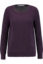 Diane Von Furstenberg Ribbed Paneled Cashmere Sweater Purple