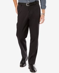 Dockers Men's Big And Tall Signature Classic Fit Khaki Flat Front Stretch Pants Black