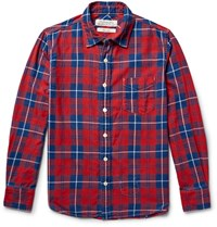 Remi Relief Checked Cotton Flannel Shirt Claret