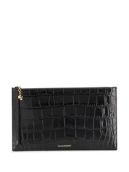 Alexander Mcqueen Crocodile Embossed Clutch Bag Black