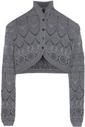 Missoni Cropped Crochet Knit Cardigan Gray