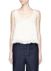 Elizabeth And James 'Andrea' Ruffle Trim Cropped Satin Tank Top White