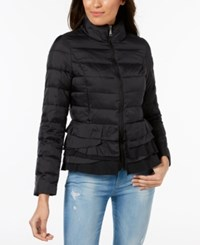 T Tahari Ruffled Puffer Coat Black